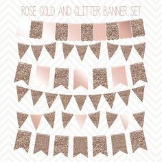 Rosegold and Glitter Bunting Banner Clipart-Commercial and personal use Rose gold/glittery/clip art/vector by Opheliafpg on Etsy https://www.etsy.com/listing/231144987/rosegold-and-glitter-bunting-banner