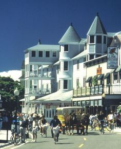 Mackinaw Island, Michigan-no cars. Only bikes and horse drawn carriages