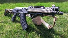 Draco with extended rails on handguard, folding stock, pretty sick brake
