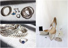 Blue, silver and diamante wedding details