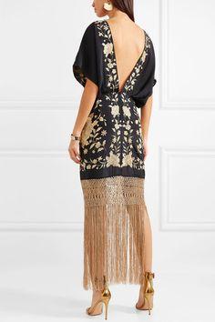 Black and gold silk, gold macramé Concealed zip fastening along back silk Dry clean Dress Outfits, Casual Dresses, Fringe Dress, Embroidered Silk, Elegant Outfit, Dream Dress, Dress Me Up, Designer Dresses, Evening Dresses