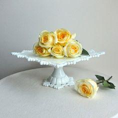 milk glass cake stand