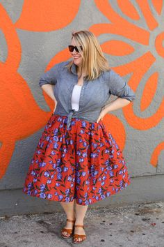 How to hack the Cashmerette Upton Dress into a super cute skirt! Plus Size Sewing Patterns, Skirt Patterns Sewing, Blouse Patterns, Skirt Sewing, Coat Patterns, Clothes Patterns, Plus Size Skirts, Plus Size Outfits, Floaty Summer Dresses
