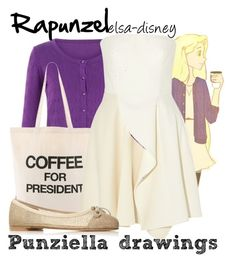 """Rapunzel (punziella drawings)"" by elsa-disney ❤ liked on Polyvore featuring Cutie, Dogeared, Big Baby, STELLA McCARTNEY, Pretty Ballerinas, women's clothing, women, female, woman and misses"