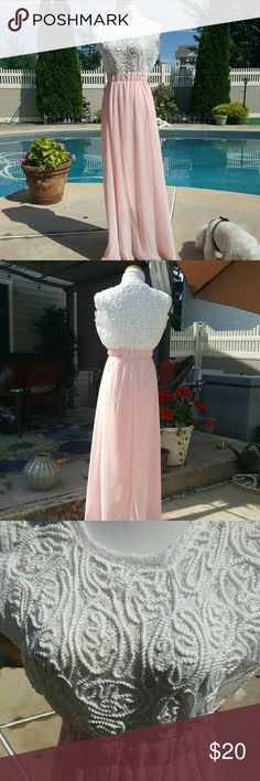 """Pretty pink and white maxi dress. Lace bodice with embroidery-like raised white on white design. Sheer maxi skirt lined 3/4 length. Size says XXL so probably made in China. Actual size 10/12 I'm estimating due to fitting my 5'6"""" 160lb. Frame. Never worn other than to try on. Cute for summer 😊 Dresses Maxi"""
