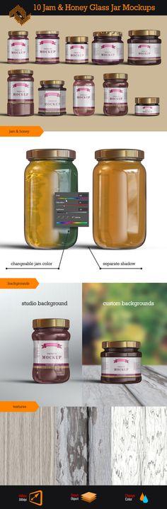 Jam Jelly Honey Glass Jars Mockup http://digitalphaser.de/product-mockup.html