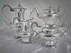 AN ENGLISH, EARLY VICTORIAN, STERLING SILVER TEA & COFFEE SET:CANADIAN INTEREST #WILLIAMHUNTER
