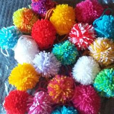 Buy Handmade wool pompoms (small - approx 5cm) x 10. Handmade by creative people crafting through DISABILITIES, CHRONIC ILLNESS or are CARERS