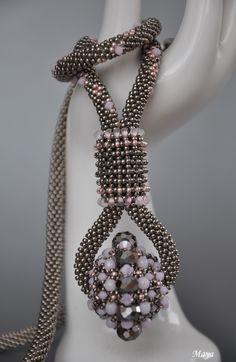 crocheted rope with beaded bead and beaded bezel