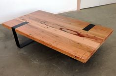Using a mix of recycled Australian hardwoods, we have designed this bespoke coffee table with a seamless finish between timber and metal. All crafted by hand, both metal legs have been routed into the top of the coffee table, whilst maintaining balance at either end. The metal work can differ from 20-150mm in width.