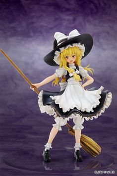 """Created by Team Shanghai Alice, *Touhou Project* is a series of hit doujin shooting games filled with all the adorably cute characters you could wish for! This particular example is the """"ordinary magician"""" and an extremely important character in the *Touhou* universe, Marisa Kirisame. Dressed in a typical witch's outfit, Marisa comes dynamically posed with her broom out behind her! Add a touch of ..."""