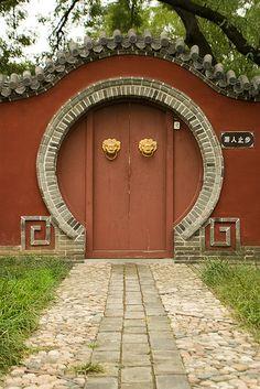 Doorway and gate ♡ Chinese Architecture, Architecture Details, Chinese Door, Portal, The Doors Of Perception, Door Gate, Unique Doors, Door Knockers, Doorway