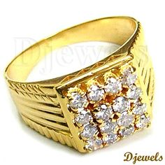 Diamond Gents Ring in Hallmarked Gold [Rs Antique Rings, Vintage Rings, Diamond Rings, Diamond Jewelry, Mens Ring Designs, Puzzle Ring, Gents Ring, Estate Rings, 3 Stone Rings