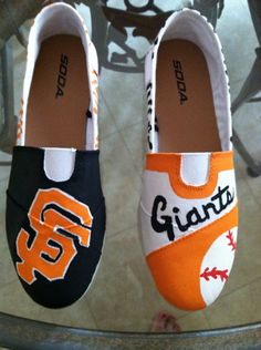 SF Giants Painted Shoes by cornucopiaofcrafts on Etsy, $40.00