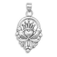 Claddagh Pendant - Symbol Of Friendship Loyalty and Love Oxidized Sterling Silver Irish Claddagh Pendant. #BuyBlueSteel #Jewelry