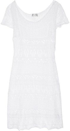 Crocheted Cotton Mini Dress - Lyst