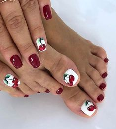 25 Nail Art Ideas and Trends to Try in 2020 | Page 2 of 2 | StayGlam Red Gel Nails, White Tip Nails, Pink Nails, Cute Nail Polish, Cute Nails, French Toe Nails, Summery Nails, Cherry Nail Art, Purple Nail Art