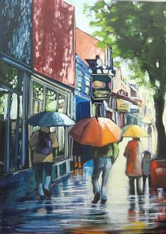 "Umbrella On Whyte by Linda Wilder Acrylic ~ 28"" x 20"""
