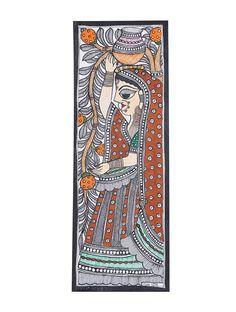 Gopi Painting x Kerala Mural Painting, Indian Art Paintings, Ganesha Painting, Buddha Painting, Madhubani Art, Madhubani Painting, Fabric Painting, Painting & Drawing, Kalamkari Painting