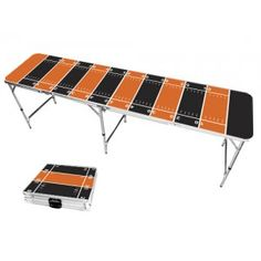 Orange & Black Football Field 8 Foot Portable Folding Tailgate Beer Pong Table from TailgateGiant.com