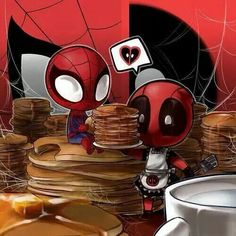 Chiby Spider-Man and Deadpool