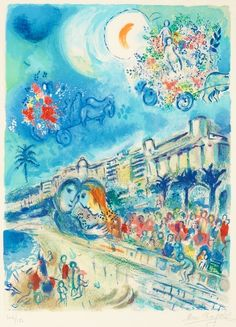 "Marc Chagall Belarus 1887-1985 (After) ""Bataille de fleurs"", from: ""Nice et la Côte d'Azur"". (d)  Lithograph in colours, 1967, on Arches paper, by Charles Sorlier after Marc Chagall, signed in pencil and numbered 104/150. L. 62,5 x 46 cm. S. 74,4 x 52,5 cm"