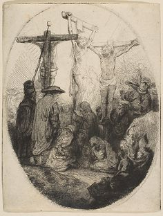 Christ Crucified Between Two Thieves; oval plate Rembrandt (Rembrandt van Rijn)  (Dutch, Leiden 1606–1669 Amsterdam)