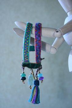 Cuff Bracelet Friendship Bracelet Velvet by BlackCatCreativeStd