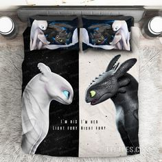 / Toothless & Light Furry Couple Black and White Bed Set Premium Romantic Duvet Cover - Bedding Set - Ideas of Bedding Set - Toothless & Light Furry Couple Black and White Bed Set Premium Romantic Duvet Cover Dragons Le Film, Httyd Dragons, White Bedding, Bedding Sets, Dorm Bedding, Couple Bed, Dragon Trainer, Valentines Gifts For Boyfriend, Vignettes