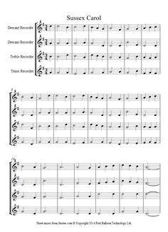 Sussex Carol sheet music for Recorder Quartet