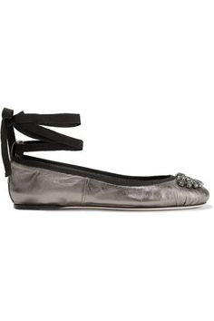 Jimmy Choo - Grace Crystal-embellished Metallic Leather Ballet Flats - Gunmetal - IT