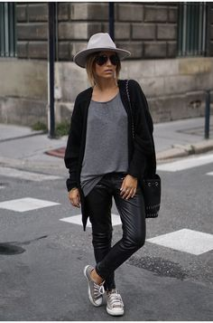 Leather trousers are a yes with a grey tee and matching converse. Via Camille Callen   Tshirt: Pimkie, Trousers: Mango, Cardigan: Jennyfer, Shoes: Converse