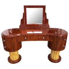 Art Deco Style Vanity w/ 5 Drawers and Adjustable Mirror