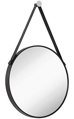 Buy Hamilton Hills Hanging Black Leather Strap Metal Circular Wall Mirror with Chrome Accents Black Round Mirror, Round Mirrors, Wall Mounted Mirror, Wall Mirror, Leather Wall, Black Leather, Mirrors With Leather Straps, Circular Mirror, Circle Design