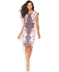 INC International Concepts Cap-Sleeve Floral-Print Sheath Dress - Dresses - Women - Macy's
