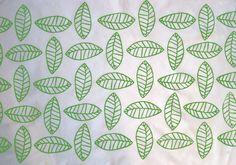 Handprinted Modern Green Leaf Cotton Fabric