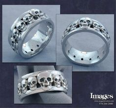 Skull Band with Black Diamond Eyes From Images Jewelers