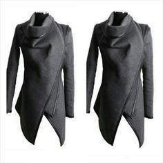 Stylish long sleeve solid color asymmetric Stylish long sleeve solid color asymmetric Other