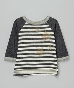 Monteau Girl Charcoal & Ivory Stripe Rhinestone Star Top - Girls | zulily
