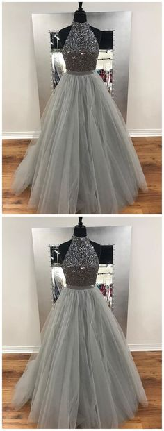 A Line Gray Beaded Fashion Evening Prom Dresses,