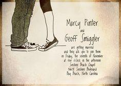 converse hipster rocker retro hand drawn illustration diy digital PRINTABLE WEDDING INVITATION suite