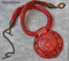 """Купить Подвеска """"Хохлома"""" - ярко-красный, подвеска с камнем, красное украшение, алое украшение, бохо"""