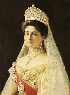 Painting of Empress Alexandra Feodorovna of Russia, based on a formal photograph taken in 1906. This portrait was once on display at the Hillwood Museum in Washington D.C.
