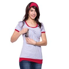 Viva la Mama | Casual, short-sleeved pregnancy and breastfeeding shirt TRIXI in grey with red-white dots. A beautiful shirt for everyday use, maternity and pregnancy which ensures discreet breastfeeding.