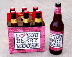 I think I will do this for Tom for Valentine& this year, buy a of one of his favorite beers and change the labels (like I could really every do anything that crafty lol) Homemade Valentines, Valentine Day Crafts, Be My Valentine, Valentine Ideas, Cute Gifts, Diy Gifts, Holiday Fun, Holiday Gifts, Day Before Valentines Day