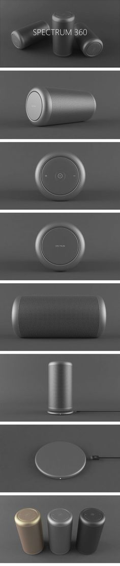 The SPECTRUM 360 is a very compact and portable wireless bluetooth speaker. Audio Design, Speaker Design, Sound Design, Id Design, Cool Technology, Bluetooth Speakers, Portable, Minimalist Design, Industrial Design