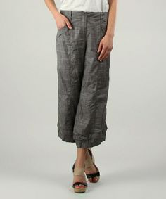 Love this Gray Wide-Leg Crop Pants by L33 by Virginie&Moi on #zulily! #zulilyfinds