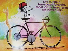 """Snoopy Peanuts Argus Poster 10 Speed Bike Gears We Never Use 1980s 19"""" x 13 1/2"""""""