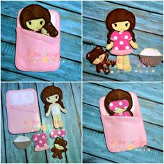 Slumber Party Felt Doll Play Set Embroidery Design - 5x7 Hoop or Larger