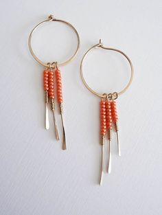 tangerine earrings, orange gold hoops, fringe jewelry - Little Wing Oriole Earrings on Etsy, $31.99